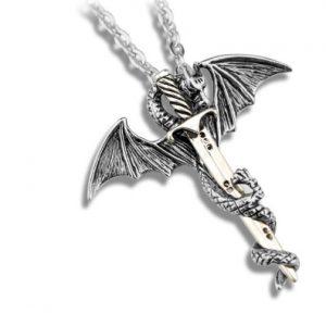 Кулон Меч дракона серебристый недорого в хорошем качестве