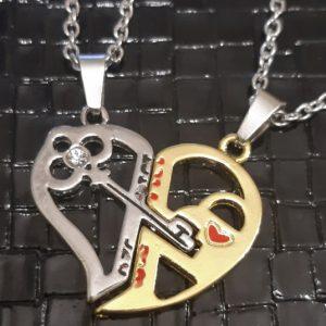 Кулоны для влюбленных парные Ключ в сердце золотой