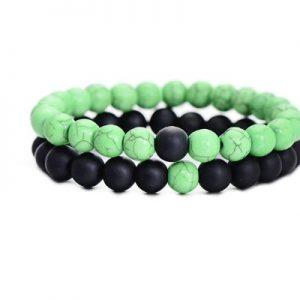 Браслеты двойные из камня Green black