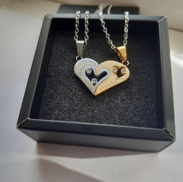 Парные кулоны две половинки сердца Я люблю тебя
