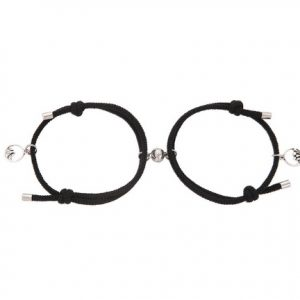 Парные браслеты с магнитом черные