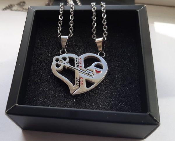 Парные кулоны Ключ в сердце Silver in black
