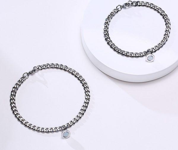 Парные браслеты с магнитом с кубинской цепочки