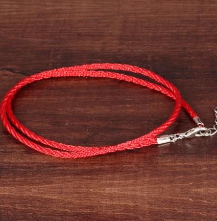 Браслет веревочный двухслойный красный