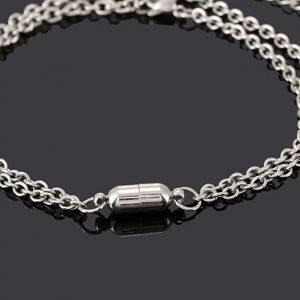 Парные браслеты с магнитами на якорной цепочке