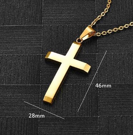 Крест большой из нержавеющей стали золотистый