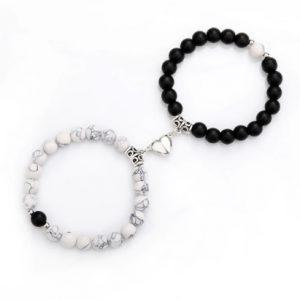 Парные браслеты с магнитами Black - White marble