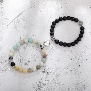 Парные браслеты с магнитами Black - Cat's Eye