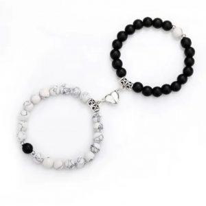 Парные браслеты с магнитами Black - White Silver